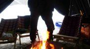 Ofen-Feuer in der Jurte